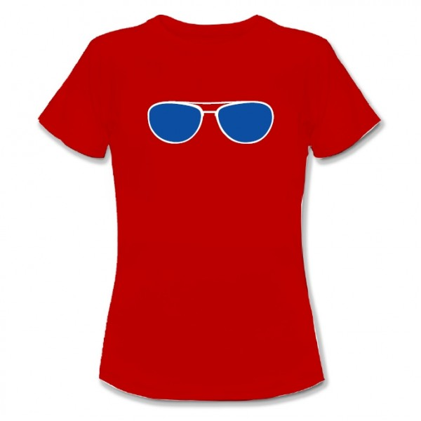 T-Shirt Brille rot